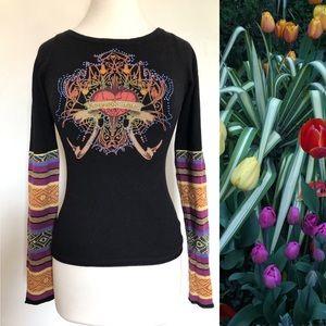RAW 7 100% Cashmere ♥️ Rhinestone Sweater M fits S
